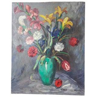 "1960's Impressionist Oil Painting ""Le Vase Vert"" by Nandor Vagh Weinmann For Sale"