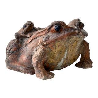 Antique Japanese Shigaraki Ceramic Large Frog With Little Frog For Sale