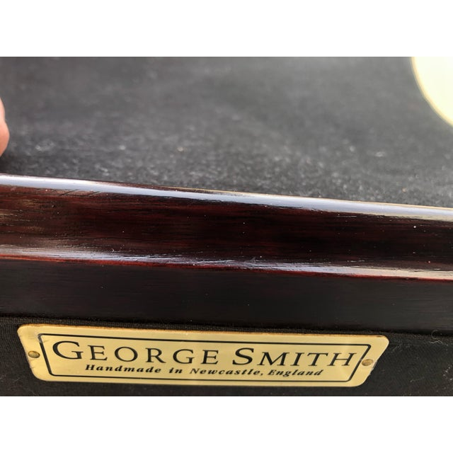 Black Black Mohair & Mahogany Hourglass Ottomans by George Smith -A Pair For Sale - Image 8 of 10
