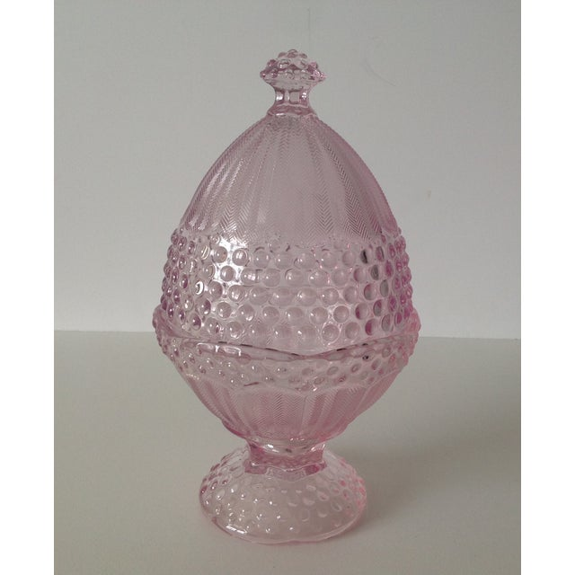 Pink Dome-Lidded Hobnail Candy Dish - Image 2 of 8