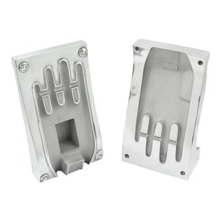 Industrial Polished Stainless Steel Hand Mold Sculpture Bookends, a Pair For Sale
