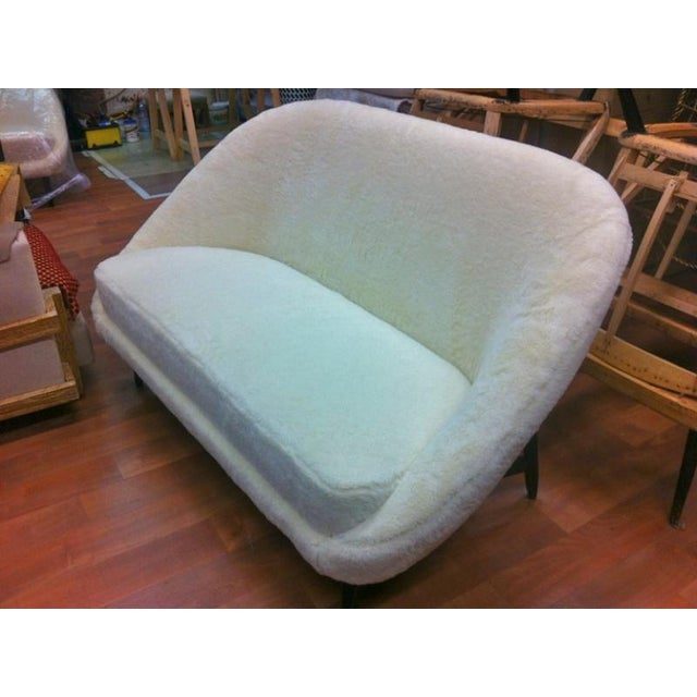 Textile Theo Ruth for Artifort 1950s Couch Newly Reupholstered in Wool Faux Fur For Sale - Image 7 of 7