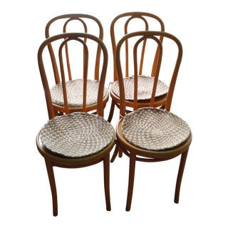 Set of 4 Orange Thonet Bentwood Cafe Chairs