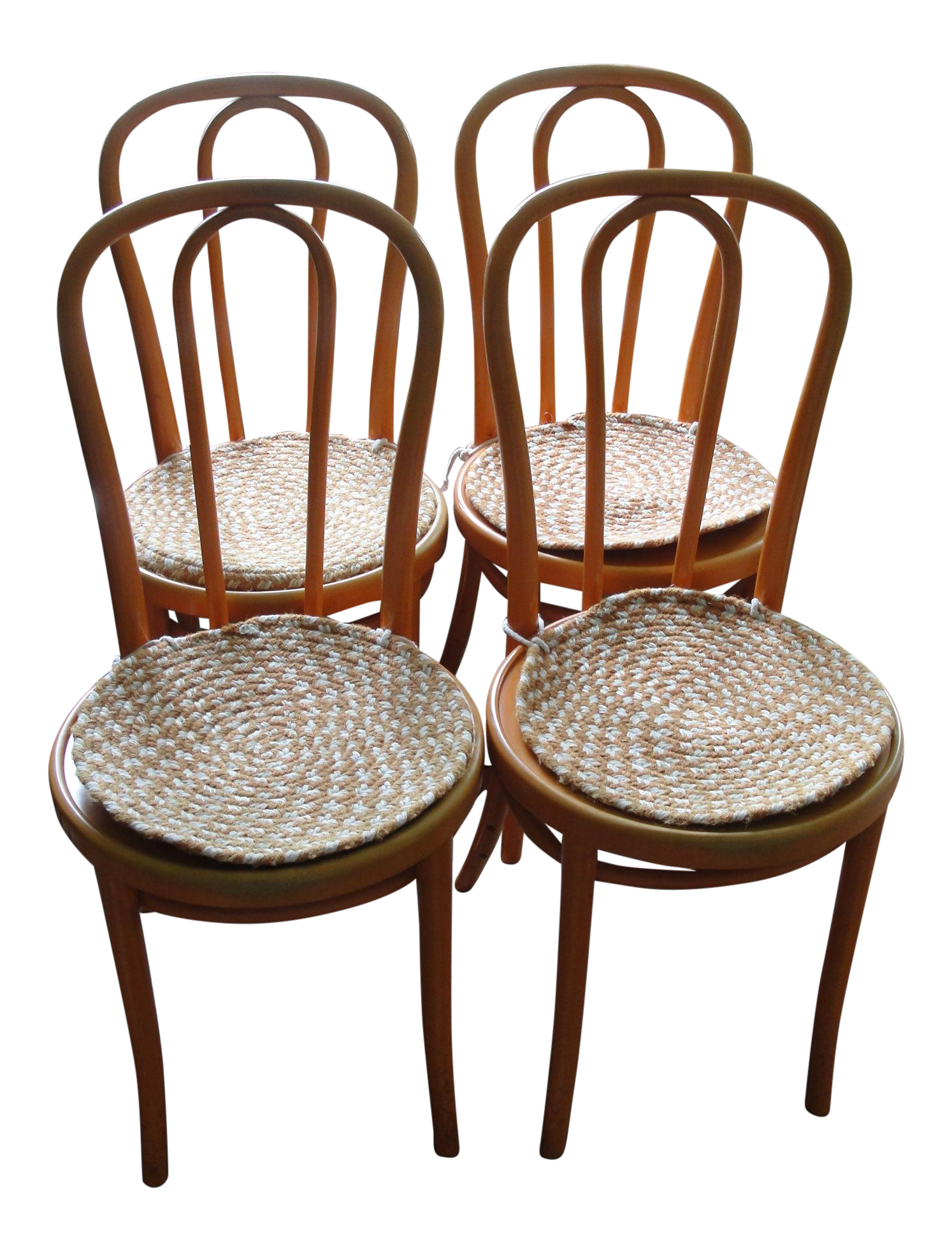 Set Of 4 Orange Thonet Bentwood Cafe Chairs   Image 1 Of 11