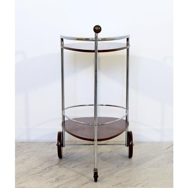 Art Deco Modern Chrome & Wood 2-Tier Bar Serving Server Cart Treitel Gratz 1940s For Sale - Image 4 of 12