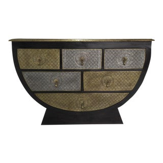 Indian/Rajasthani Brass Inlaid Sideboard/Buffet For Sale