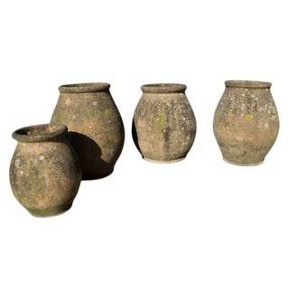 Antique French Terracotta Urns With Organic Patina Circa 1900 - Set of 3 For Sale
