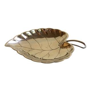 Vintage German Silver Plated Leaf Dish For Sale