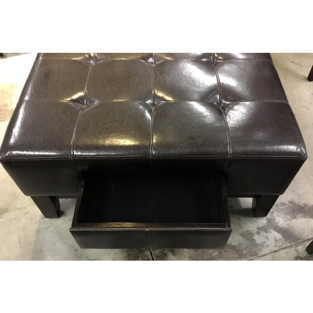 2010s Transitional Tufted Espresso Leather Cocktail Ottoman For Sale - Image 5 of 6
