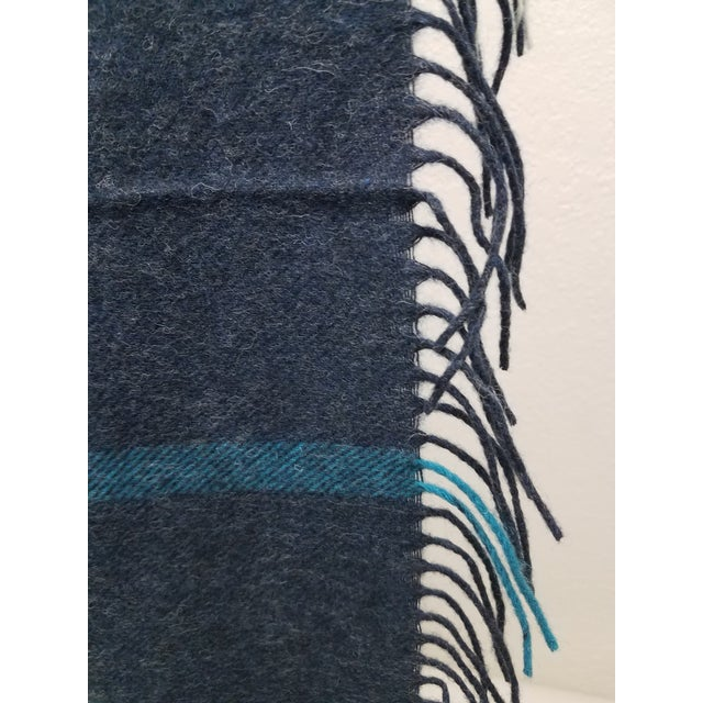 Textile Merino Wool Throw Blue and Aqua - Made in England For Sale - Image 7 of 9