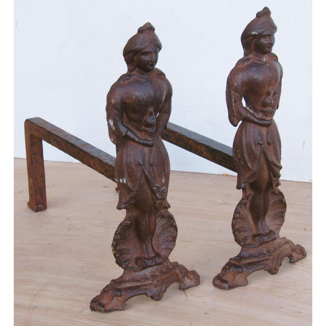 Vintage Cast Iron Lady Fireplace Andirons - Pair For Sale - Image 7 of 11