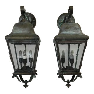 20th Century English Traditional Brass Verdigris Wall Lanterns - a Pair For Sale
