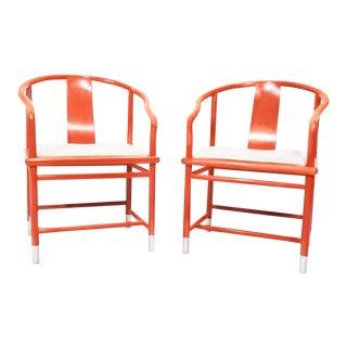 Atelier Brueton Ming Vermillion Armchairs- A Pair
