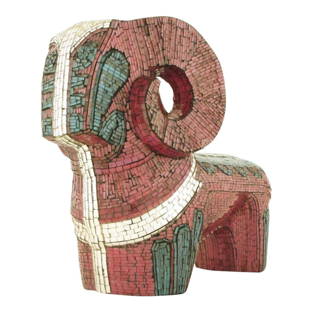 Abstract Ram Sculpture Clad In Miniature Glass Mosaic For Sale