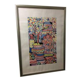 1996 Abstract Framed Original Print Signed Elliot Bassman For Sale