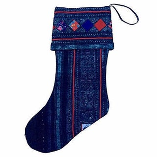 Vintage Tribal Batik Christmas Stocking For Sale