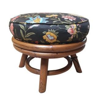 Bamboo Rattan Upholstered Ottoman