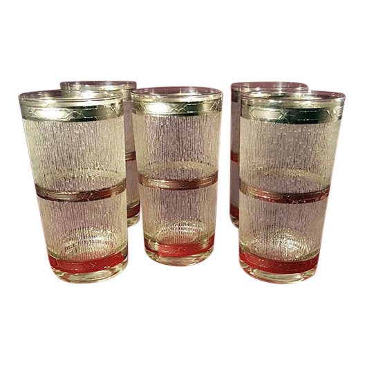 Culver Suburban Wet Textured Platinum Banded Tumblers - Set of 6 For Sale