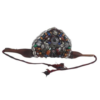 Vintage Moroccan Charouita Headdress, Berber Beads and Fabric For Sale
