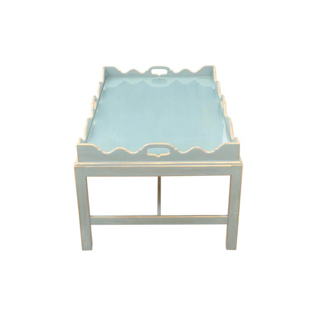 Shabby Chic Shabby Chic Lexington Scalloped Cocktail Tray Table For Sale - Image 3 of 7