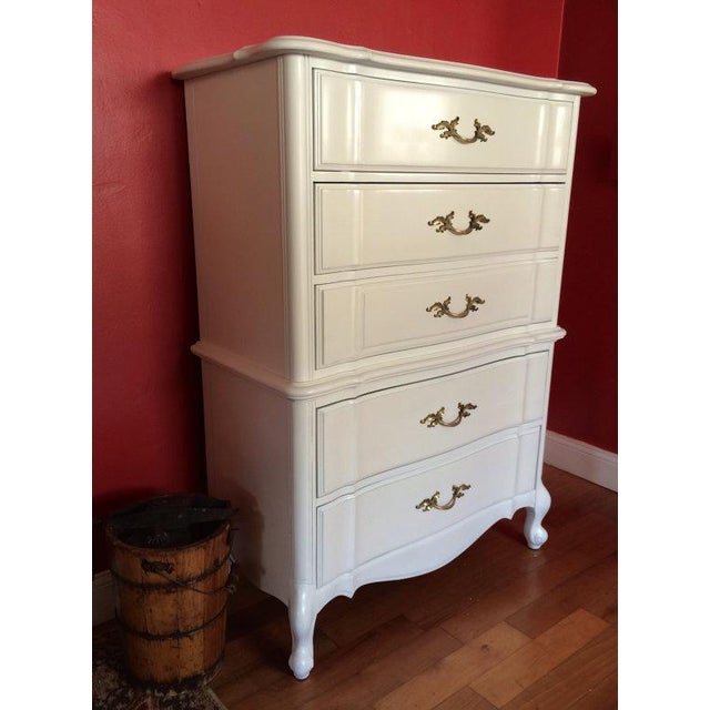 Stanley French Provincial Solid Wood Tallboy Dresser - Image 3 of 6