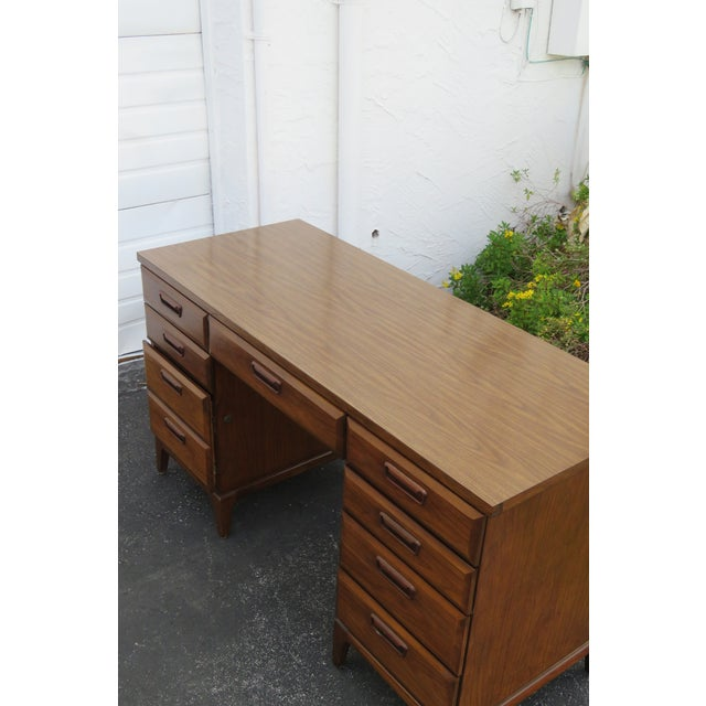 Mid 20th Century Mid Century Modern Large Writing Office Desk For Sale - Image 5 of 13