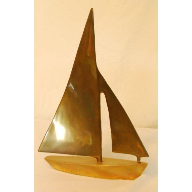 Vintage Heavy Brass Sailboat For Sale - Image 4 of 4