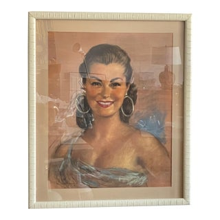 1950s Portrait of a Woman Charcoal and Color Pencil Drawing by Gisbert Palmie, Framed For Sale