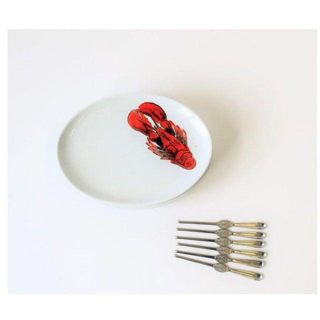Vintage Designer Italian Lobster Plates With Forks From Sweden - Set of 6 For Sale - Image 4 of 13