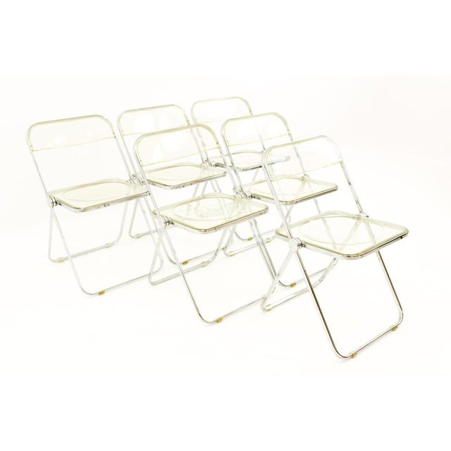 Vintage Mid Century Anonima Castelli Italian Lucite Folding Chairs- Set of 6 For Sale - Image 11 of 11