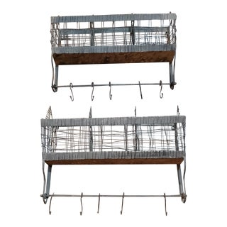 Metal and Wire Vintage Bins or Wall Racks - a Pair For Sale