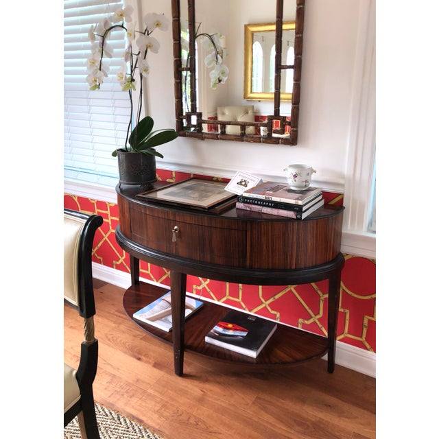 Schnadig Tribeca Art Deco Style Macassar Wood Demilune Console Table.