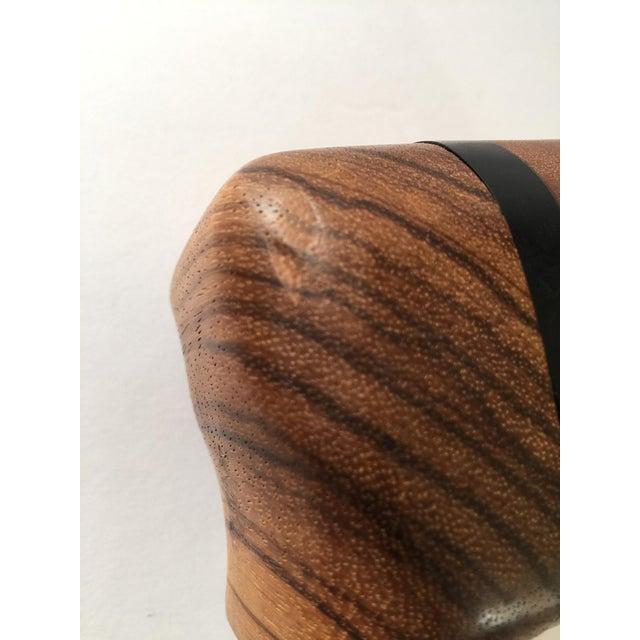 Artisan Walnut Ebony and Zebra Wooden Covered Box - Image 6 of 8