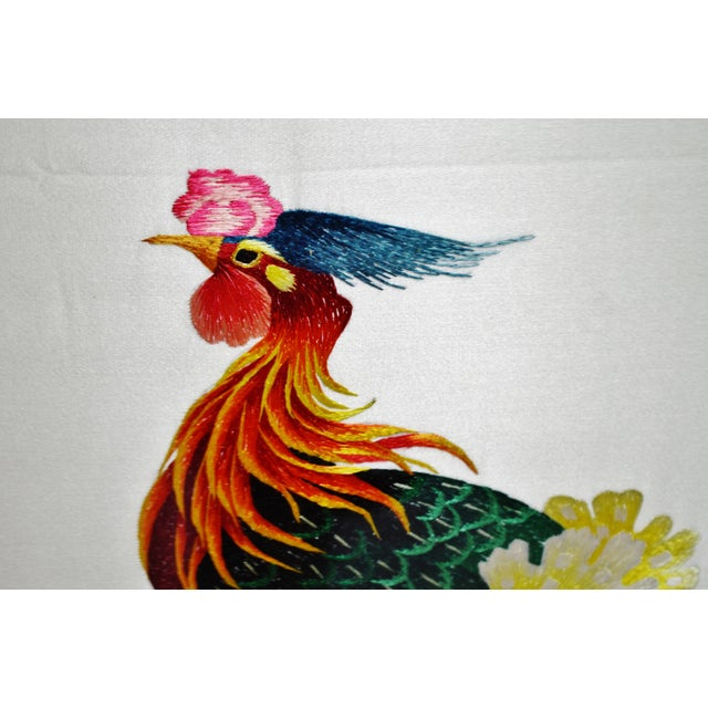 Vintage Framed 100 Birds Adore the Phoenix Chinese Silk Embroidery For Sale - Image 11 of 13