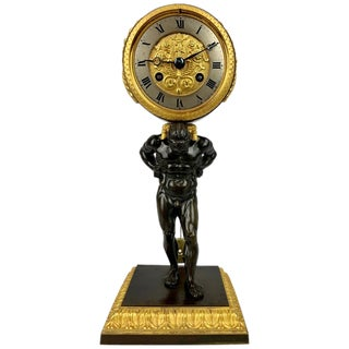 Early 19th Century Empire Period Bronze Doré and Patinated Bronze Clock Depicting Atlas For Sale