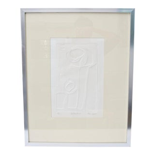 """White-On-White 2-D Paper Sculpture Art Work """"Related Forms"""" by Edna Levine For Sale"""