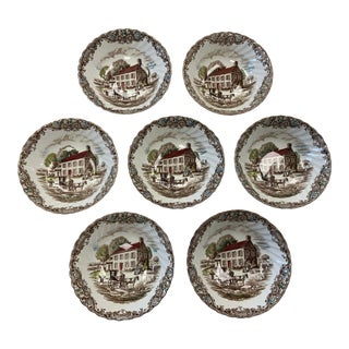 1960s Heritage Hall Pennsylvania Fieldstone Ironstone Small Bowls - Set of 7 For Sale