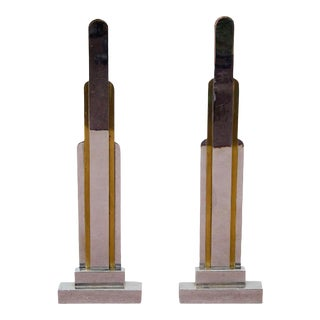 1930s Jules Bouy French Art Deco Bronze Skyscraper Form Andirons - a Pair For Sale