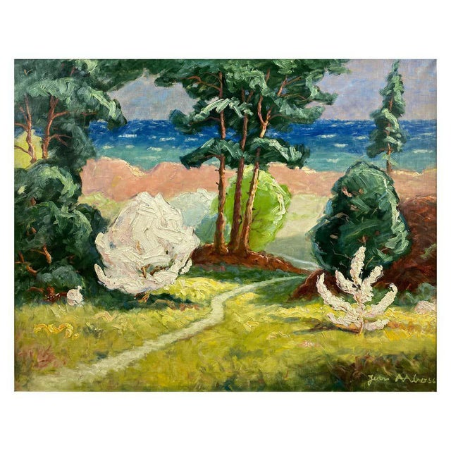 """Jens Aabo """"Danish Coastal Pathway"""", Impressionist Oil Painting, 1956 For Sale - Image 13 of 13"""