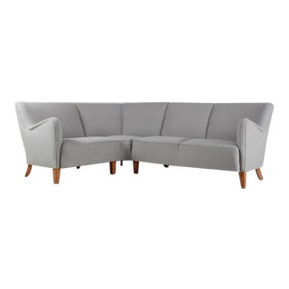 Corner Sofa with Light Grey Wool Upholstery, Denmark, 1940s For Sale