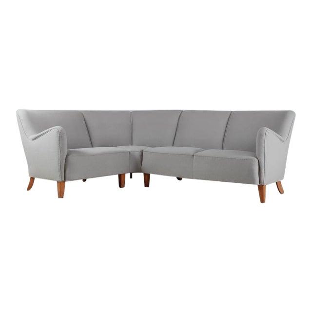 Corner Sofa with Light Grey Wool Upholstery, Denmark, 1940s For Sale