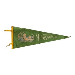 Vintage Milwaukee Wisconsin Felt Flag For Sale