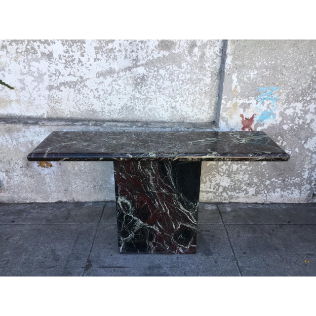 Mid century 1980's vintage black marble console table