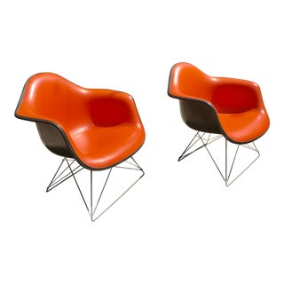 1970s Mid Century Eames for Herman Miller Orange Chairs-- a Pair For Sale