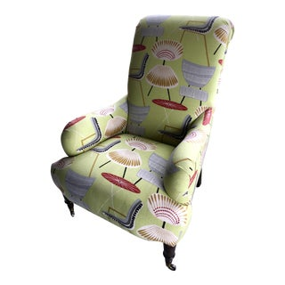 Vanguard Furniture Lounge Chair in Chartreuse Mid-Century Modern Print For Sale
