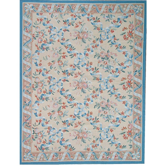 "French Pasargad Aubusson Hand Woven Wool Ru g- 9' 6"" X 12' 7"" For Sale - Image 3 of 3"