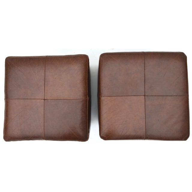 Restoration Hardware Mitchell Gold for Restoration Hardware Leather Cube Ottoman Pair For Sale - Image 4 of 6