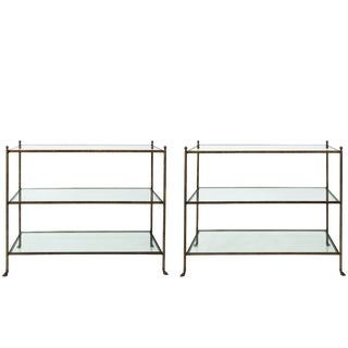 Pair of 1980s Three-Tier Glass Etageres For Sale