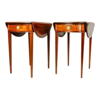 Antique Cherry / Satinwood Banded Pembroke Side Tables - A Pair For Sale