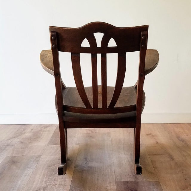 Early 20th Century Early 20th Century Arts + Crafts Oak Rocking Chair For Sale - Image 5 of 13